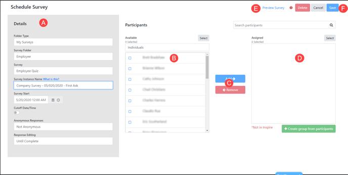 Surveys - Schedule Survey Screen - Diagram